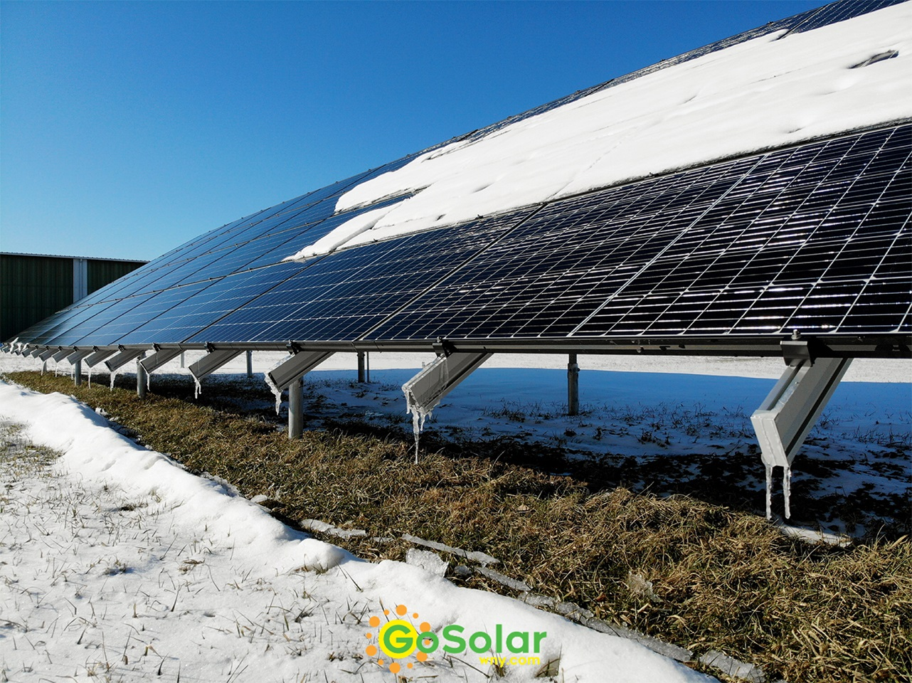 Ground Mount Solar Array in Winter
