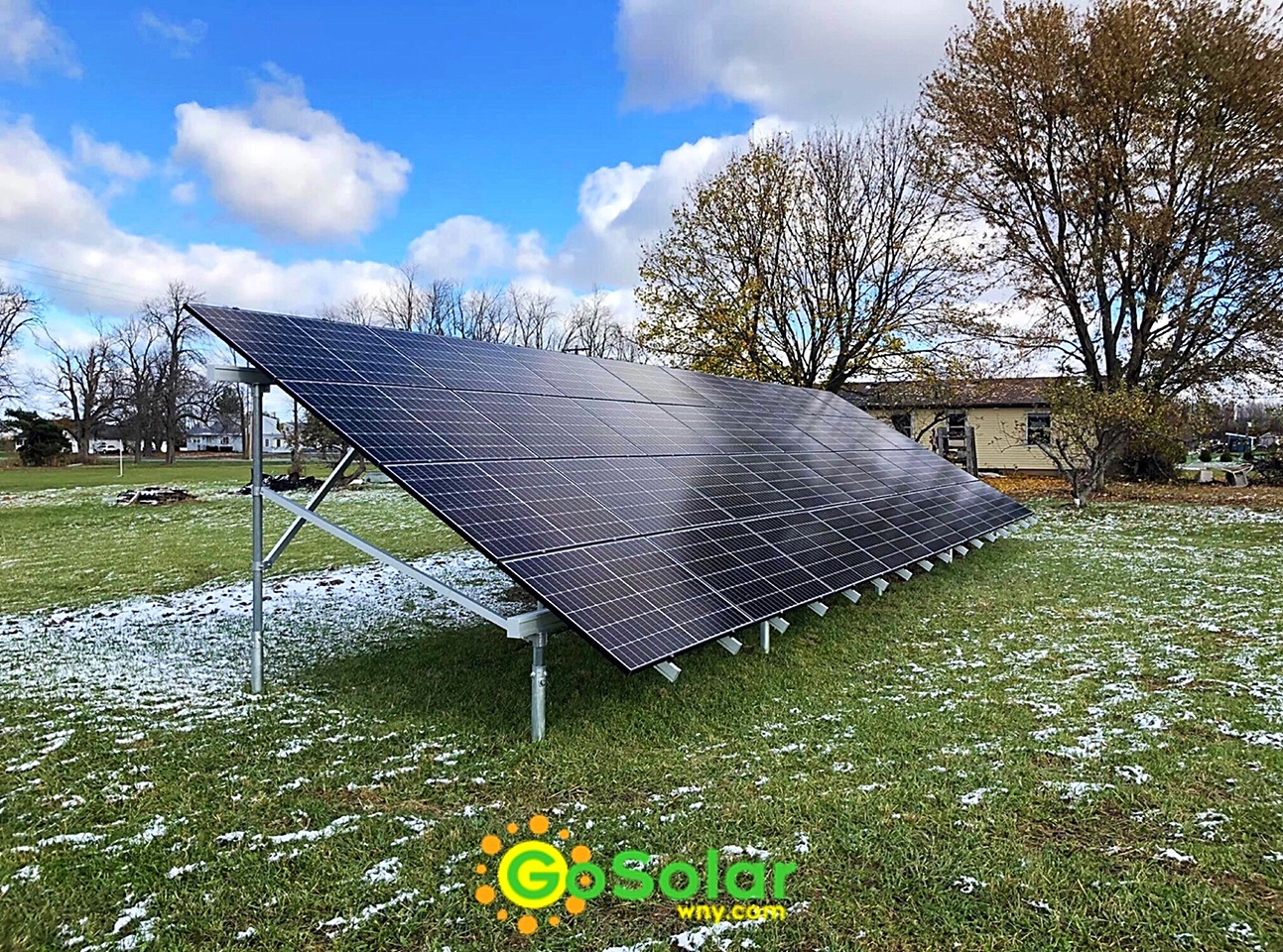 Ground Mount Solar Array by Go Solar WNY utilizing Ground Screw Racking System